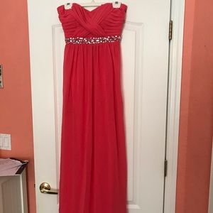 Coral floor length strapless prom dress